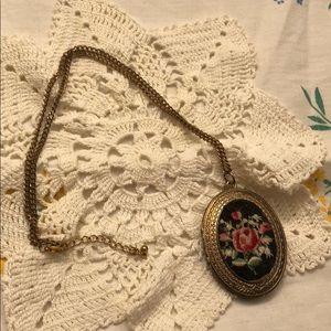 Vintage Embroidered Floral Cameo Locket Necklace